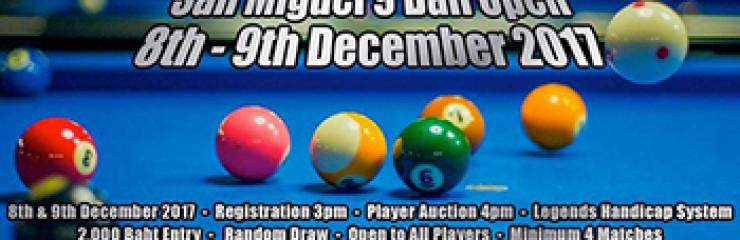 Legends 9 Ball Open at Legends Pool Pattaya – 8-10 December 2017