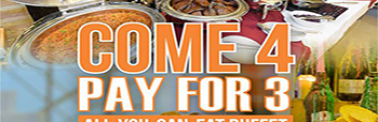 """""""Come 4 pay for 3″ All you can eat Buffet at New Nordic Pattaya – Thursdays"""