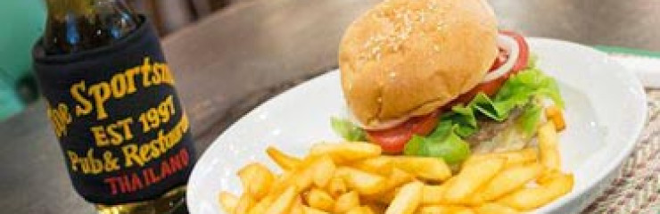 195 Baht Burger & San Miguel Light every Wednesday at The Sportsman Pub