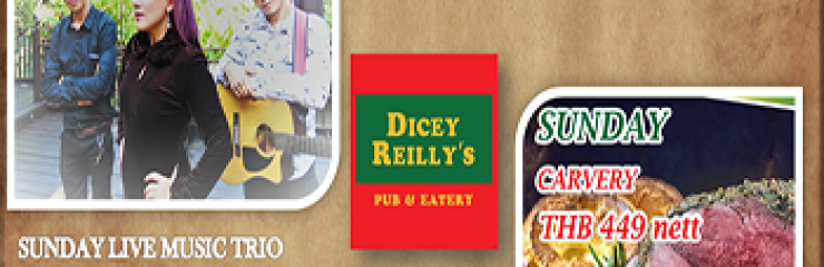 Sunday Carvery First drink Free at Dicey Reilly's Pattaya