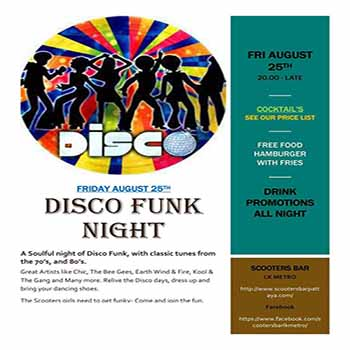 Disco Funk Night at Scooters Bar LK Metro – 25 August 2017
