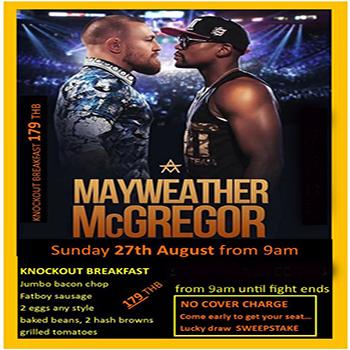 179฿ Knockout Breakfast at The Sportsman Pub Pattaya – 27 August 2017