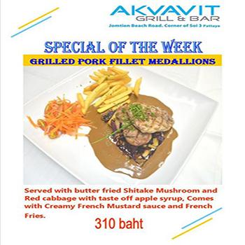 Special of the week – Grilled Pork Fillet Medallions at Akvavit Grill & Bar Pattaya