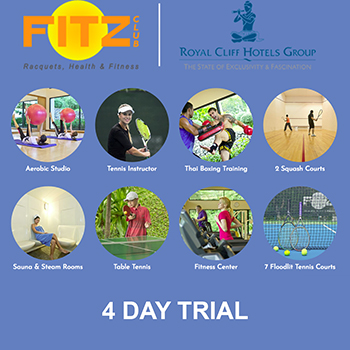 Get your 4 Day Free Trial at Fitz Club by Royal Cliff Hotels Pattaya – from 1- 31 January 2018