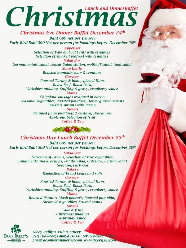 christmas eve dinner menu 2018