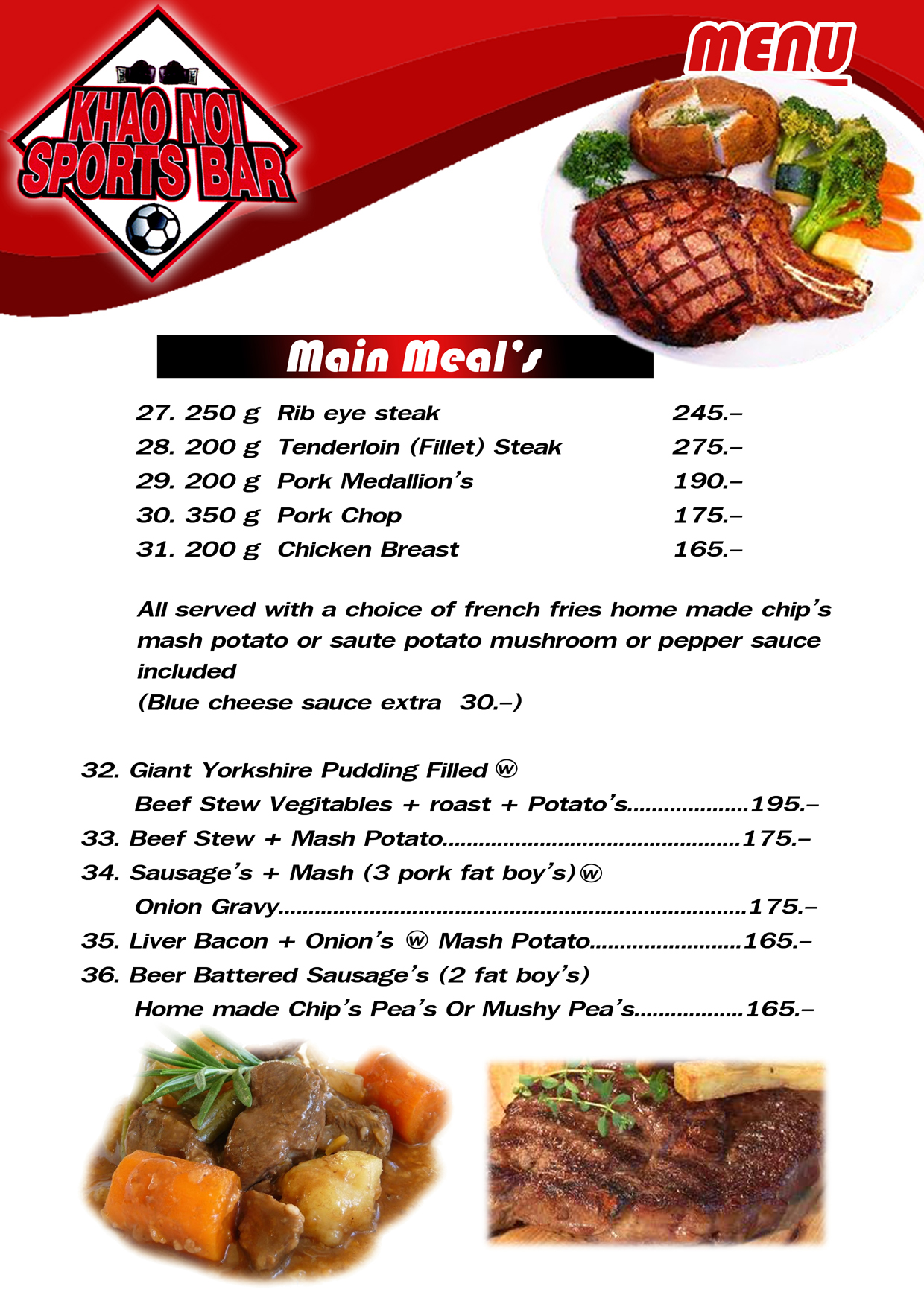 Inspire pattaya khao noi sports bar for Food bar menu