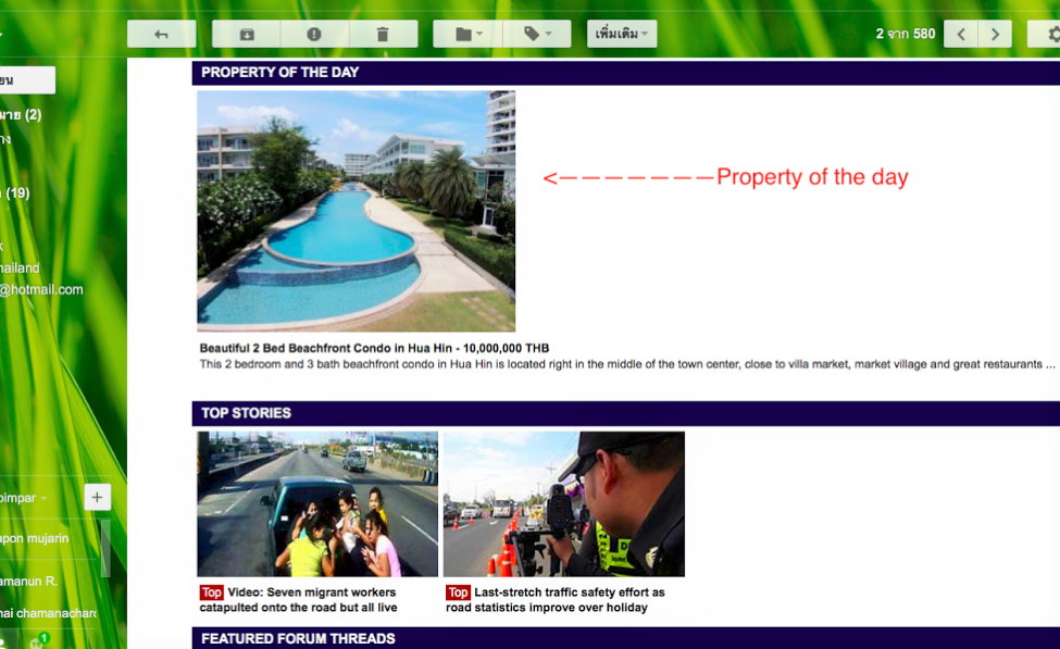 "Thaivisa daily E newsletter ""Property of The day"" Reach 323,000 Subscribers with your property in a single email."