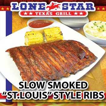 """Slow Smoked """"st. Louis"""" Style Ribs at The Lone Star Texas Grill Restaurant – Tuesday"""
