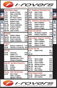 Weekly Schedule - 3rd September