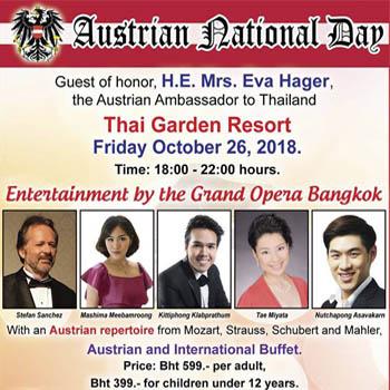 Austrian National Day at Thai Garden Resort – Friday 26th October 2018