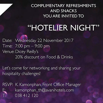 AVANI Connect Hotelier Night at Dicey Reilly's Pattaya – 22 November 2017