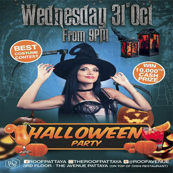 Halloween Party and Best Costume Party @ The Roof Restaurant & Bar at The Avenue Pattaya – Wednesday 31st October 2018