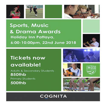 Sports, Music and Drama Awards at Holiday Inn Pattaya – Friday 22nd June 2018