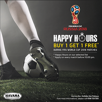 Special Happy Hour Buy 1 Get 1 Free at Havana Bar & Terrazzo Restaurant – During FIFA World Cup 2018