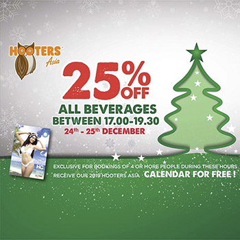 25% off all beverages at Hooters Pattaya – 24 & 25 December 2018