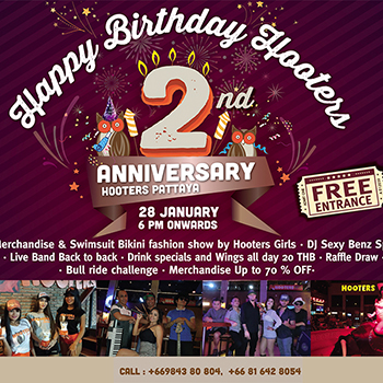 Happy Birthday Hooters Pattaya – 28 January 2018