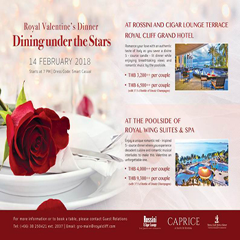 Dining under the Stars at Royal Cliff Beach Hotel – 14 February 2018