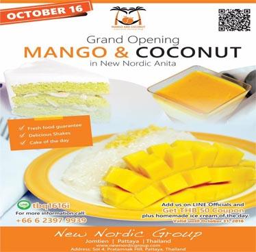 Grand Opening Mango and Coconut at New Nordic Anita – Sunday 16th October 2016