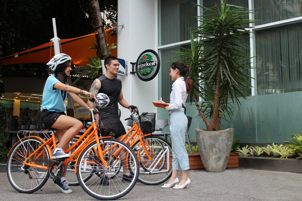 Orange Bicycles: a trendy, chic new way to get around Pattaya from dusit D2 baraquda Hotel Pattaya