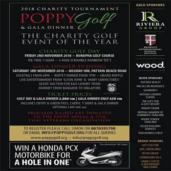 Poppy Golf & Gala Dinner at Burapha Golf Course – 2nd & 3rd November 2018