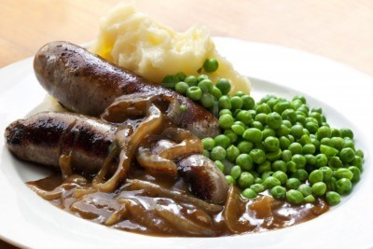 Bangers And Mash With Onion Gravy Recipe — Dishmaps