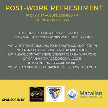 Post-Work Refreshment at RETOX Outback Sports Bar and Restaurant – Friday 31st August 2018