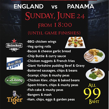 99 Baht Specials during the England Game at Robin Hood Tavern Pattaya