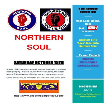 Northern Soul Night at Scooters Bar Soi 6 – Saturday 15th October 2016