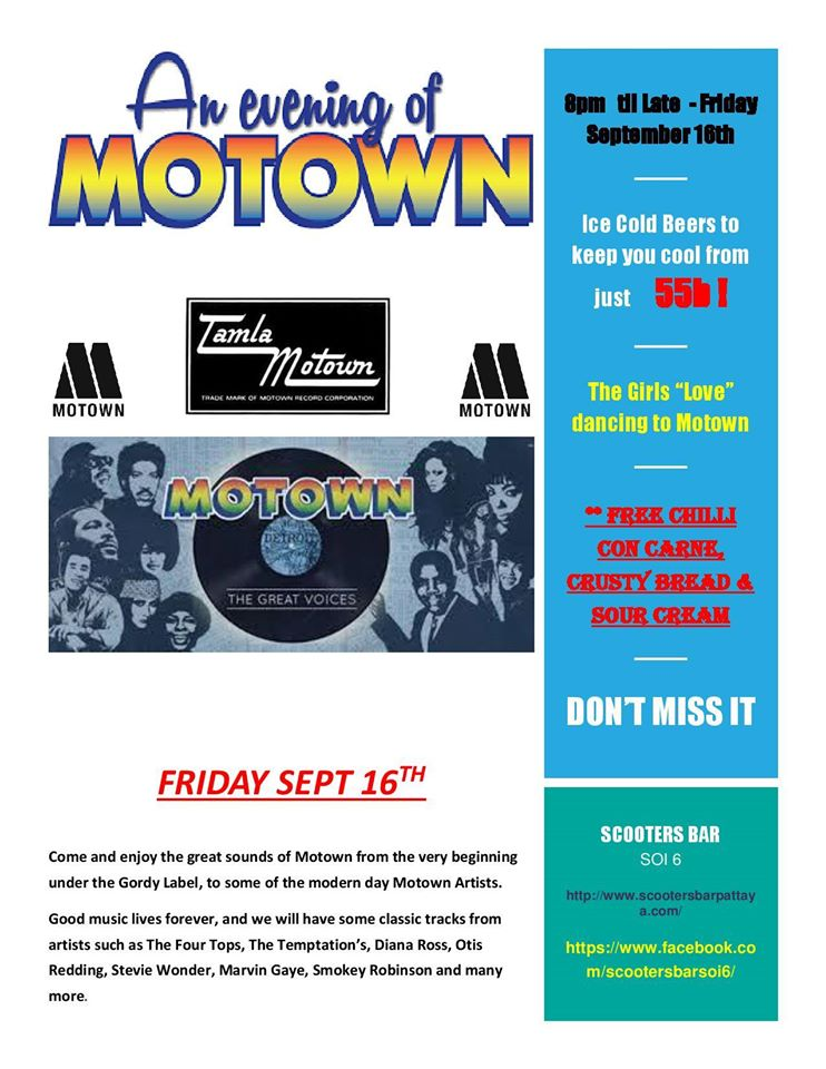 Motown Night at Scooters Bar Soi 6 – Friday 16th September 2016