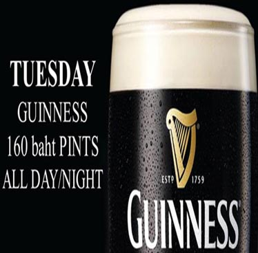 Every Tuesday 160 Baht Guiness at The Sportsman Pub