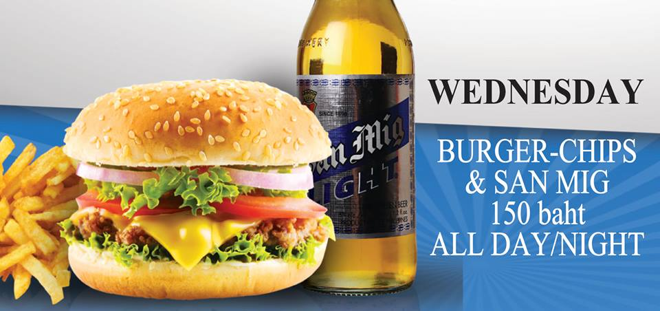 150 Baht Burger & San Miguel Light every Wednesday at The Sportsman Pub