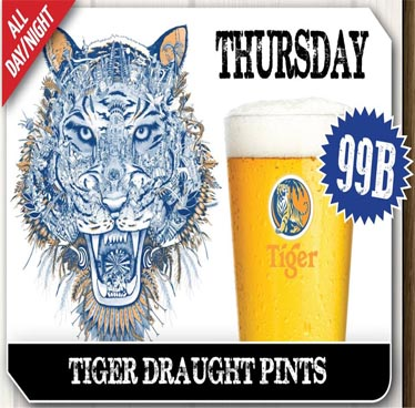 Every Thursday 99 Baht Tiger Draught at The Sportsman Pub Pattaya