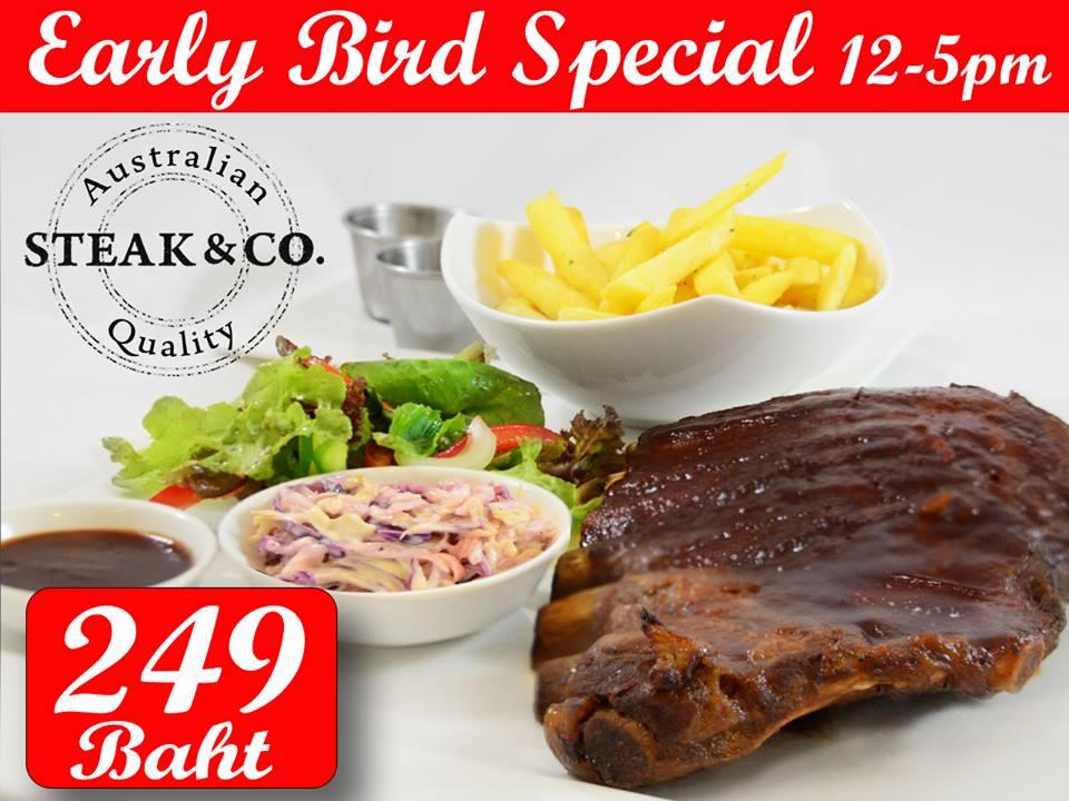 249 Baht 1/2 Rack of BBQ Ribs at Steak & Co Pattaya