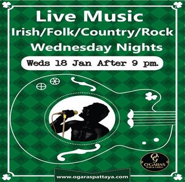 Wednesdays Live Music at O'Garas Irish Bar & Restaurant – 18th January 2017