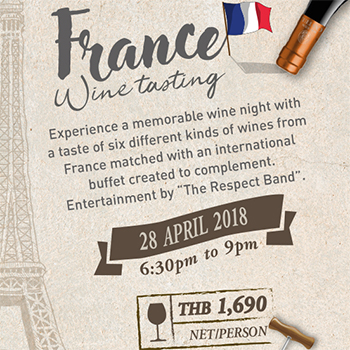 France Wine Tasting at Havana Bar & Terrazzo Restaurant – 28 April 2018